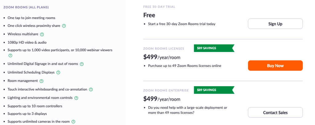 ZOOM Rooms Plans